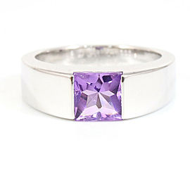 Cartier 18K White Gold Amethyst Tank Ring CHAT-128