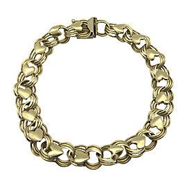 14K Yellow Gold Triple Link Heart Charm Bracelet