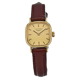 Vintage LONGINES Gold Plated/Leather Hand-winding Women's Watch