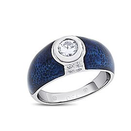 18k White Gold 0.37 Ct. Genuine Hidalgo Solitaire Diamond Blue Enamel Ring Size 6.5