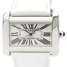 CARTIER Tank Divan Steel Leather Automatic Mens Watch W6300755
