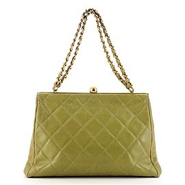 Chanel Vintage Chain Frame Bag Quilted Caviar Medium