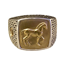 David Yurman Petrvs Collection Sterling Silver and 22K Yellow Gold Horse Signet Ring Size 12