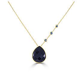 14K Yellow Gold Onyx & Blue Topaz Necklace