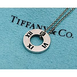 TIFFANY & Co. silver small atlas round circle pendant Necklace