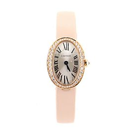 Cartier Baignoire Quartz Watch Rose Gold and Satin with Diamond Bezel 18