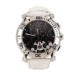 Chopard Happy Sport Skull Chronograph Round Quartz Watch Stainless Steel and Alligator with Floating Diamonds 42