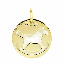 HERMES 18K Yellow Gold Rocking Horse Necklace Charm Pendant CHAT-143