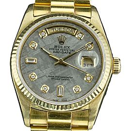 Rolex Day-Date 18038 18K Yellow Gold with Meteorite Dial Vintage 36mm Mens Watch