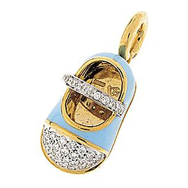 Aaron Basha Saddle Shoe 18k Yellow Gold 0.30ct. Diamonds and Enamel Charm