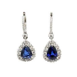 Gregg Ruth 18K White Gold Blue Sapphire and Diamonds Drop Earrings
