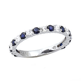14K White Gold Blue & White Sapphire Stackable Eternity Anniversary Band Ring Size 7