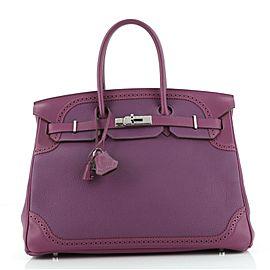 Hermes Birkin Ghillies Handbag Anemone Togo and Swift with Palladium Hardware 35