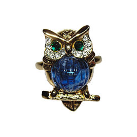 Kenneth Lane 18K Gold Plated Rhinestone Eyes Jelly Belly Owl Ring Size 7.0
