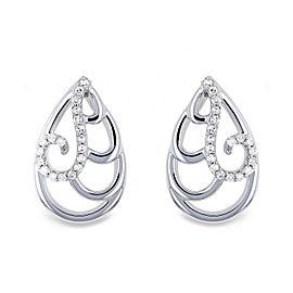 Wispy Teardrop Diamond Earrings 10k Gold - white-gold
