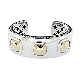 David Yurman Albion Sterling Silver 18k Yellow Gold Cuff Bracelet