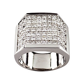 18K White Gold with Diamond Plaque Ring Size 13.5