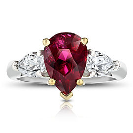 Platinum 18K Yellow Gold 3.08ctw. Ruby 0.82ctw. Diamond Ring Size 7