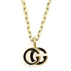 GUCCI 18K Yellow Gold Blue Topaz Double G Necklace CHAT-931