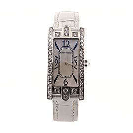 Harry Winston Avenue C Quartz Watch White Gold and Alligator with Diamond Bezel and Mother of Pearl 19
