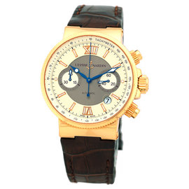 "Ulysse Nardin ""Maxi Marine Chronograph"" 18K Rose Gold Mens Strap Watch"