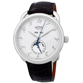 "Hermes Arceau Grande Lune ""Moonphase"" Stainless Steel Mens Watch"