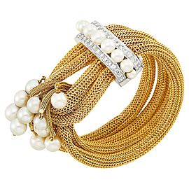 6 1/8Four Strand Gold Mesh, White Gold, Cultured Pearl and Diamond Fringe Bracelet