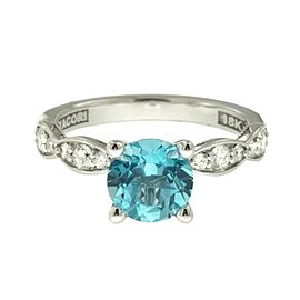 Tacori 18K White Gold Topaz .36ctw Diamond Ring Size 6.5