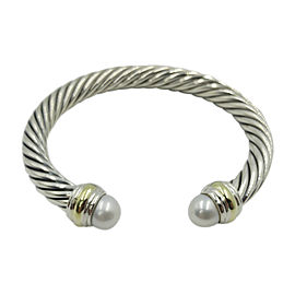 David Yurman Cable Classic Sterling Silver and 14K Yellow Gold with Cultured Pearl Bracelet