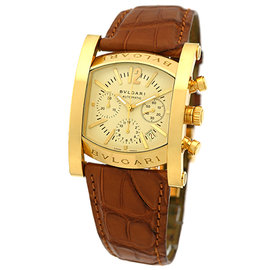 Bulgari Assioma Chronograph 18K Yellow Gold Strap Mens Watch
