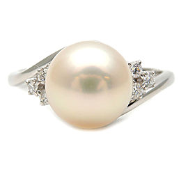 MIKIMOTO 1P Pearl Diamond Ring PT900 Platinum US7.5 EU56