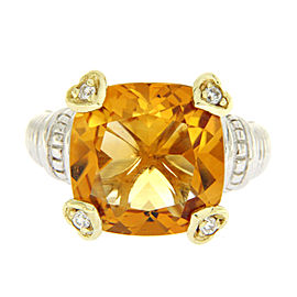 Judith Ripka 925 Sterling Silver & 18K Yellow Gold Diamonds & Orange Crystal Ring Size 6
