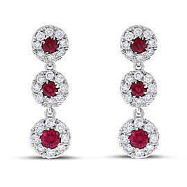 14k White Gold Natural Diamond & Ruby Halo Drop Earrings