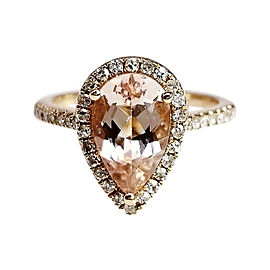 14k Rose Gold Diamond and Morganite Ring Size 7