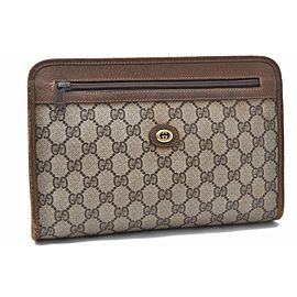 GUCCI Clutch Bag GG PVC Leather Brown