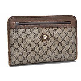 GUCCI Clutch Bag GG PVC Leather Brown