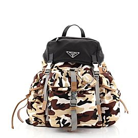 Prada Camouflage Multipocket Buckle Backpack Printed Tessuto