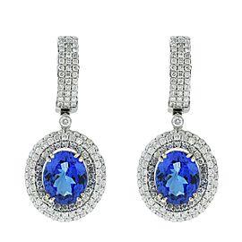 14K White Gold Tanzanite Diamond Earrings