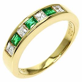 Emerald 18k Yellow Gold Diamond Ring