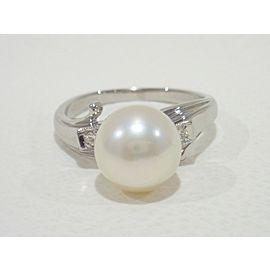 Vintage MIKIMOTO platinum/diamonds akoya pearl Ring
