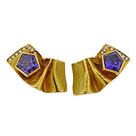 Misani Amethyst Diamond Gold Earrings