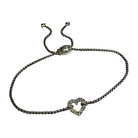 David Yurman Sterling Silver Cable Collectibles 0.08tcw Diamond Heart Station Bracelet
