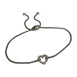 David Yurman Sterling Silver Cable Collectibles 0.08tcw Diamond Heart Station Bracelet