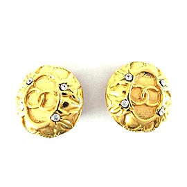 Chanel Gold-Tone Metal & Crystal CC Earrings
