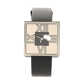 Tiffany & Co. Atlas Cocktail Square Quartz Watch White Gold and Satin with Diamond Markers 27