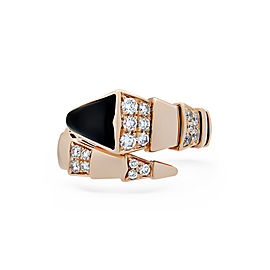 Bulgari 18K Rose Gold with 0.90ctw Diamond and Onyx Serpenti Ring Size 5