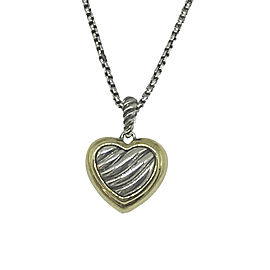 David Yurman Sterling Silver and 14K Yellow Gold Heart Pendant Necklace