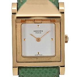 HERMES Medor GP/Leather White Dial Quartz Women's Watch