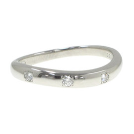 Mikimoto Platinum 0.06 Ct Diamond Ring Size 5.75