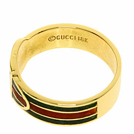 GUCCI 18K Yellow Gold Sherry line Enamel Ring